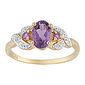 Gemondo 9ct Yellow Gold 0.69ct Natural Amethyst & 1.6pt Diamond Three Stone Ring