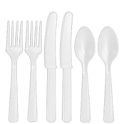 White Plastic Cutlery - Assorted Party Pack