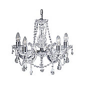 5 Arm Ceiling Chandelier Light with Chrome Metal and Crystal Drops