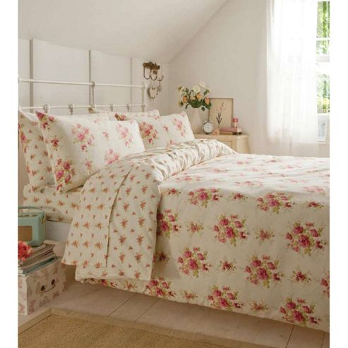 Catherine Lansfield Home Cosy Corner Brushed Cotton Madelaine Ditsy Floral pillowcase pink