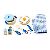 Viga Wooden Blue Cooking Utensil Set