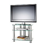 Alphason Sona, 3 Shelf Clear Glass Tv Stand For Tv'S Up To 26