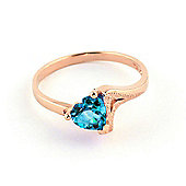 QP Jewellers 0.95ct Blue Topaz Devotion Heart Ring in 14K Rose Gold