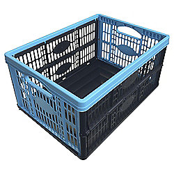 Tesco 32 Litre Folding Crate Blue / Black