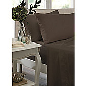 Catherine Lansfield Non Iron Percale Combed Poly-Cotton Fitted Sheets in Chocolate - Single