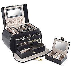 Beautify Black Jewellery Box with 3 Draws and Lock