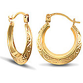 Jewelco London 9ct Yellow Gold Creole hoop Earrings engraved with floral design
