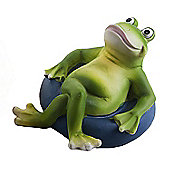 Floating Frog on Blue Rubber Ring Resin Pond Feature