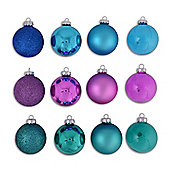 Set Of Twelve Blue, Purple & Green Coloured Christmas Tree Baubles