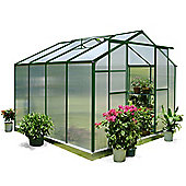 Nison EaZi-Click 8X8 Aluminium Polycarbonate Greenhouse in Dark Green including Base