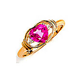 QP Jewellers Diamond & Pink Topaz Halo Heart Ring in 14K Gold