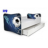 Toddler Bed With Drawer and Mattress - Football Blue (Large)