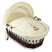 Clair de Lune Tippy Tumble Dark Wicker Moses Basket (Cream)