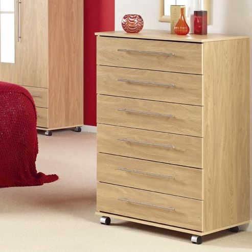 Ideal Furniture Bobby Six Drawer Chest - Oak