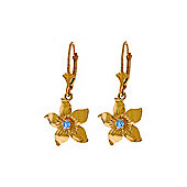 QP Jewellers 0.20ct Blue Topaz Star Flower Earrings in 14K Rose Gold