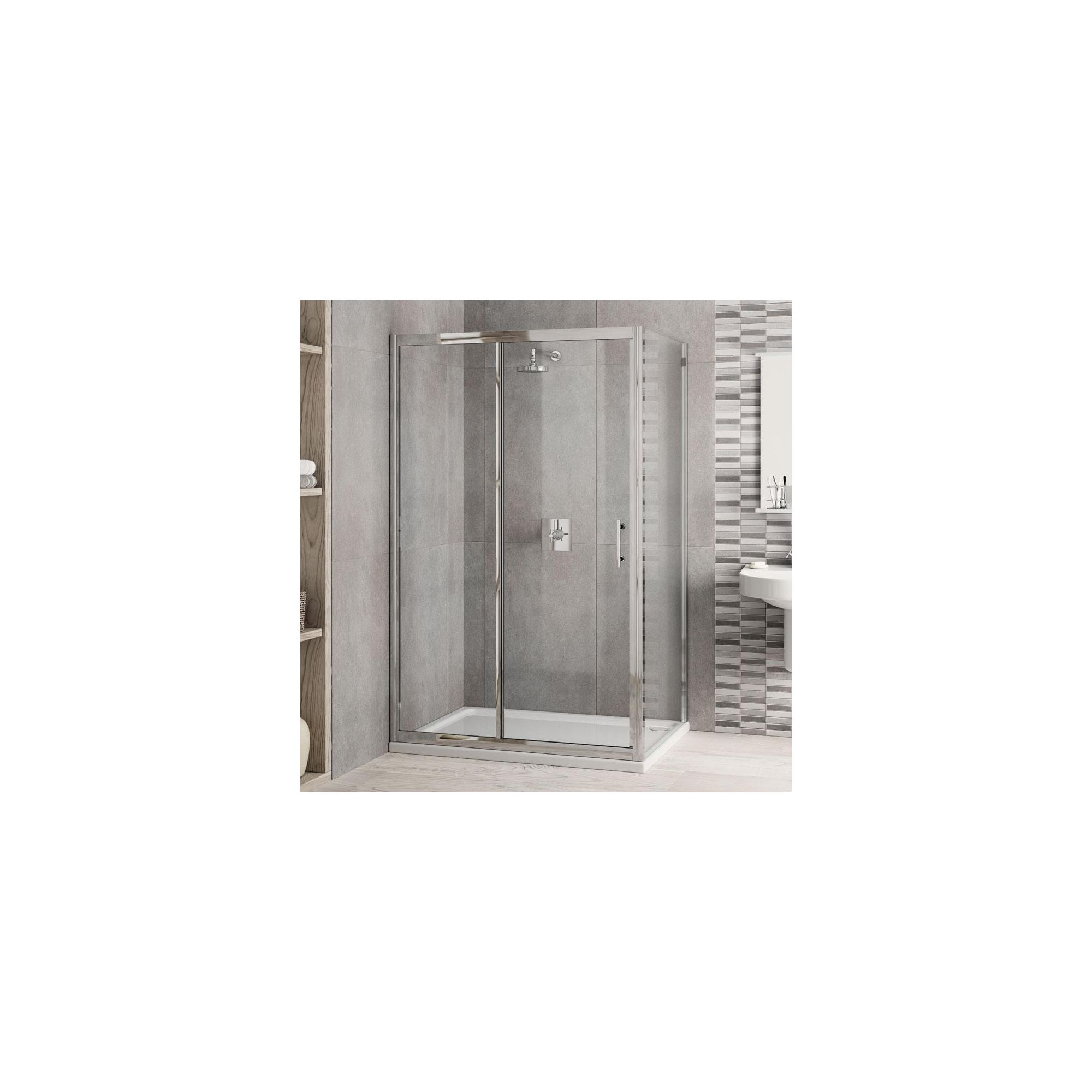 Elemis Inspire Two-Panel Jumbo Sliding Door Shower Enclosure, 1400mm x 900mm, 6mm Glass, Low Profile Tray at Tesco Direct