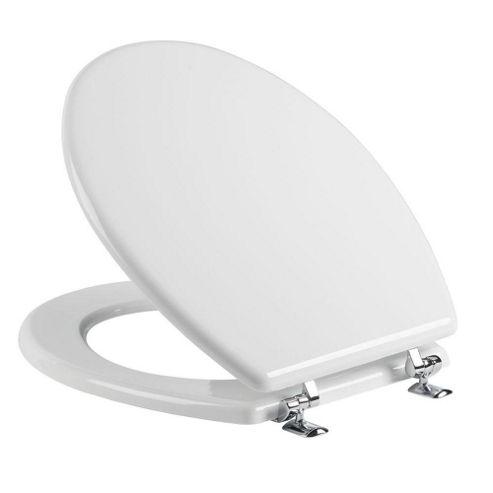Tavistock Topaz WHITE Mould Wood Toilet Seat with Chrome Hinges