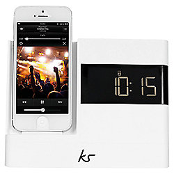 Kitsound X-Dock with FM Radio for iPhone 5/5s, White