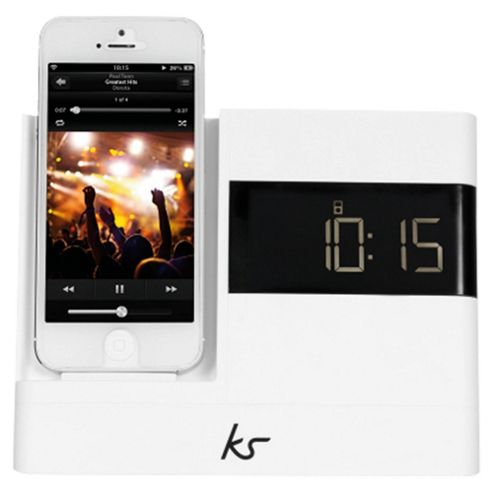 Kitsound X-Dock with FM Radio for iPhone 5/5s/6/6 Plus, White