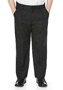 F&F School Boys Reinforced Knee Pleat Front Trousers - Black