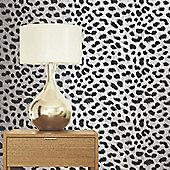 Leopard Print White Wallpaper 10m