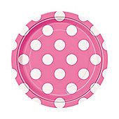 Pink Polka Dot Dessert Plates - 17cm Paper Party Plates