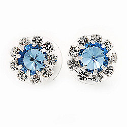 Small Light Blue/Clear Diamante Stud Earrings In Silver Finish - 10mm Diameter