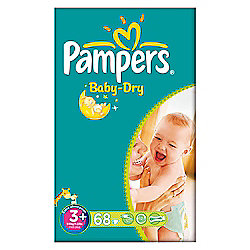 Pampers Baby Dry Size 3+ Large Pack - 68 nappies