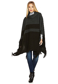 F&F Block Stripe Cowl Neck Poncho - Grey