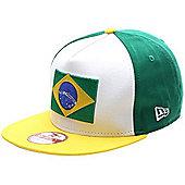 New Era Cap Co Flag Front Snapback Cap - Brazil - White