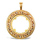 Jewelco London 9ct Solid Gold casted full-size rope & Ribbon design Sovereign coin pendant mount