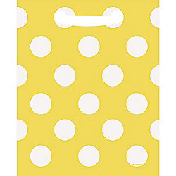 Yellow Polka Dot Party Bags - Plastic Loot Bags