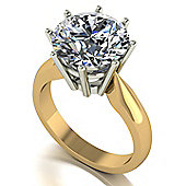 18ct Gold 11mm Round Brilliant Moissanite Single Stone Ring.