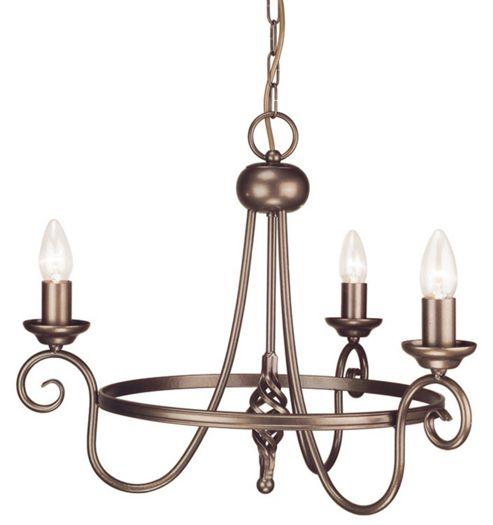 Elstead Lighting Harlech Three Light Candle Chandelier - Dark Bronze