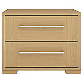 Modular Oak 2 Drawer Chest with Oak Shaker Drawers, Chrome Handle.