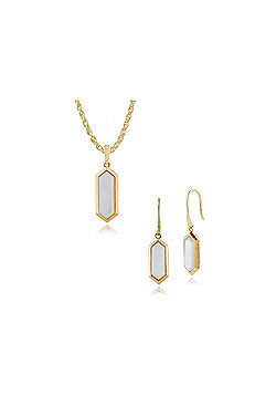 Gemondo Plated Silver Mother of Pearl Hexagonal Prism Drop Earring & 45cm Necklace Set