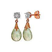 QP Jewellers Diamond & Green Amethyst Comet Stud Earrings in 14K Rose Gold