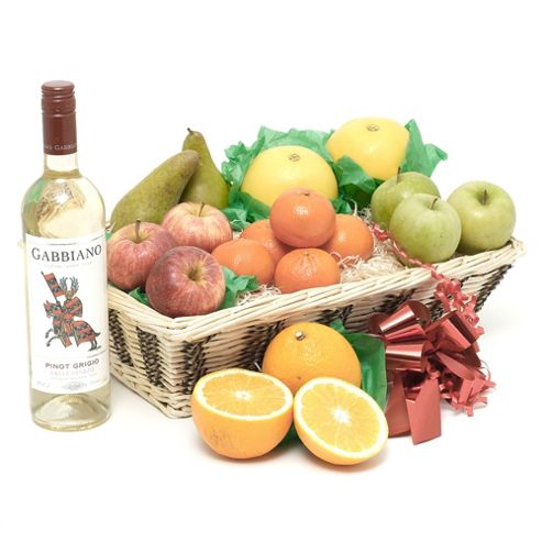 Fruit Basket With White Wine (FB19)
