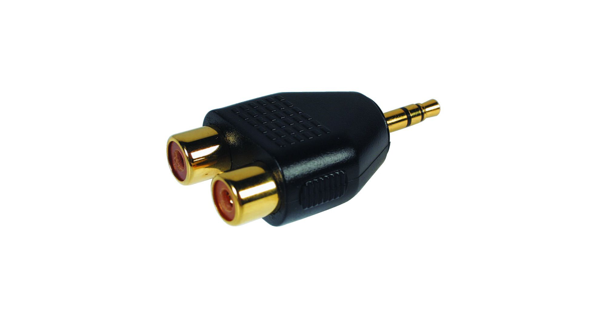 Gold-Plated 2 Phono Sockets to 3.5mm Stereo Plug Adaptor