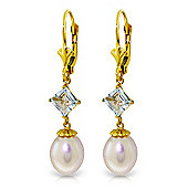 QP Jewellers Aquamarine & Pearl Droplet Leverback Earrings in 14K Gold