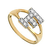 Jewelco London 9ct Gold Ladies' Identity ID Initial CZ Ring, Letter F - Size L
