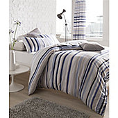 Catherine Lansfield Knitted Stripe Curtains 66x72 Cotton Rich 168x183cm Nautical