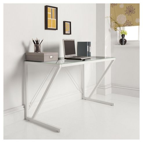 Paze Glass Desk, White