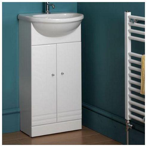 Duchy Treglyn White Floor Standing 2 Door Vanity Unit and Basin - 430mm Wide x 355mm Deep