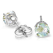 QP Jewellers 0.95ct Aquamarine Classic Stud Earrings in 14K White Gold