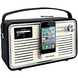 VIEWQUEST RETRO WIFI INTERNET/DAB+/FM RADIO WITH IPOD DOCK (BLACK AND GREY)