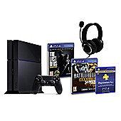 PS4 (Black) With Battlefield Hardline, The Last of Us, GP3 Headset, PSPlus (3Mth)