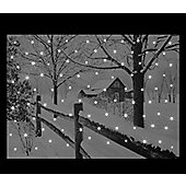 Fibre Optic Christmas Canvas - Snowy House Scene