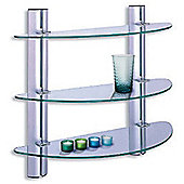 Splash - 3 Tier Glass Bathroom Wall Storage Shelves