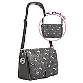 Clevamama Initials Collection Ellie Asphalt Messenger Baby Changing Bag & Mat